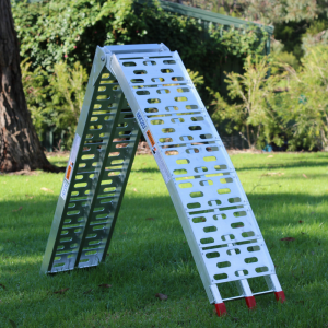 Aluminium loading ramp on grass